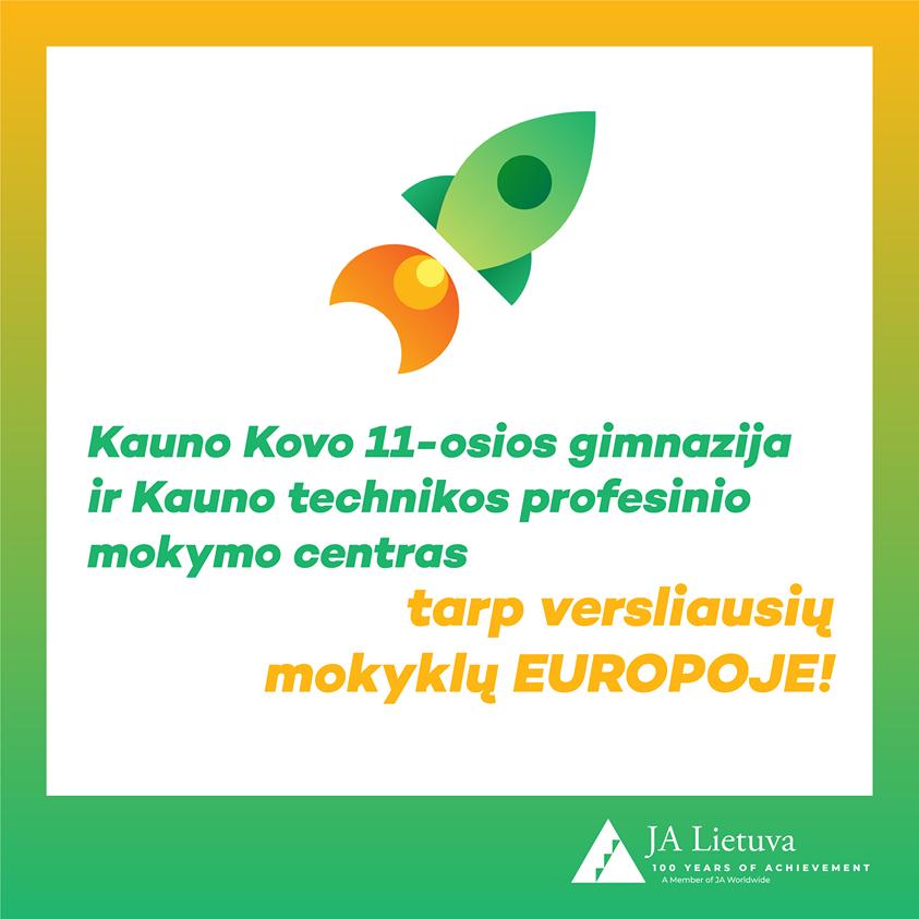 """Europinis """"Junior Achievement"""" tinklas paskelbė versliausias Senojo žemyno mokyklas! O tarp jų – net dvi """"Lietuvos Junior Achievement"""" mokyklos iš Kauno!"""